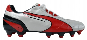 Puma King FG white/high risk red/black